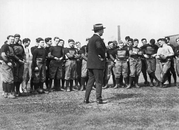 Addressing Photograph - Harvard Football Practice by Underwood Archives