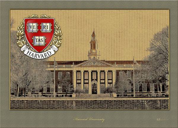 University Wall Art - Photograph - Harvard University Building With Seal by Serge Averbukh