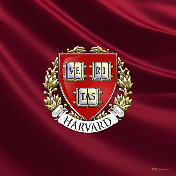 University Wall Art - Photograph - Harvard University Seal Over Colors by Serge Averbukh