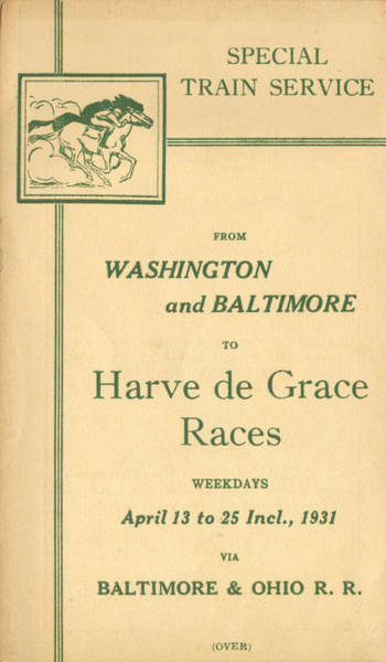 Drawing - Harve De Grace Races by Baltimore and Ohio Railroad