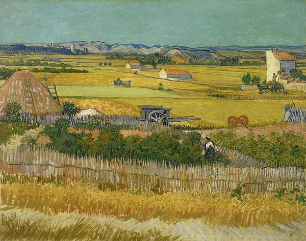Painting - Harvest At La Crau With Montmajour In The Background At Wheat Fields Van Gogh Series   By Vincent  by Artistic Panda