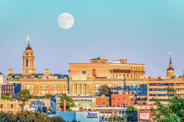 Wall Art - Photograph - Harvest Moon Over Portland by Tim Sullivan