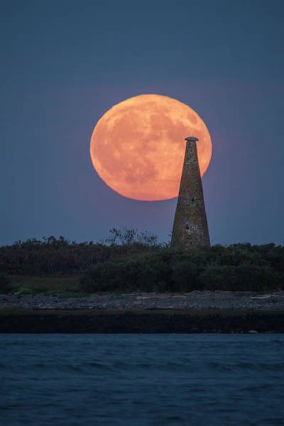 Harvest Moon Over Stage Island, Maine Art Print