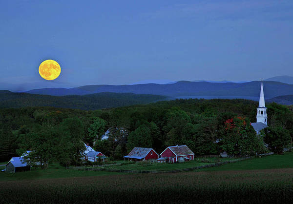 Photograph - Harvest Moon Over Peacham Vermont by John Vose