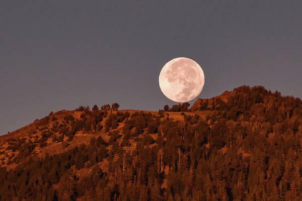 Wall Art - Photograph - Harvest Moon Setting On Waterhouse Peak by Mike Herron