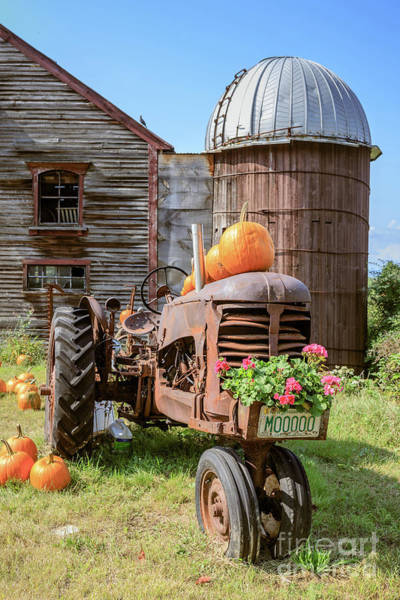 Silo Photograph - Harvest Time Vintage Farm With Pumpkins by Edward Fielding