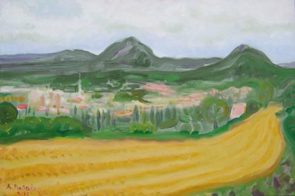 Barley Painting - Harvested Barley Field At Handlova by Anton Benuska