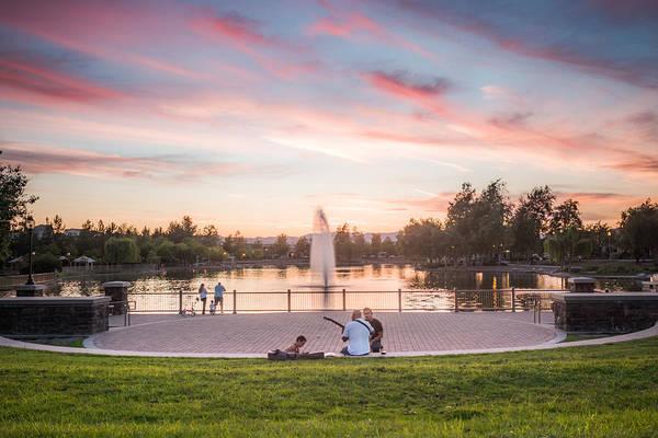 Photograph - Harveston Lake April 2016 Sunset by Adam Rainoff
