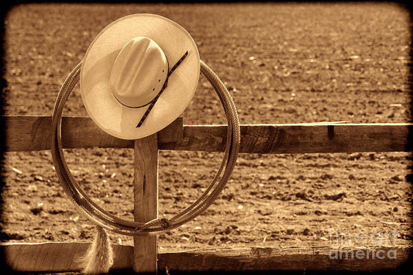 Photograph - Hat And Lasso On A Fence by American West Legend By Olivier Le Queinec