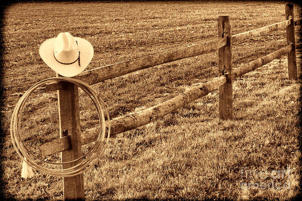 Photograph - Hat And Lasso On Fence by American West Legend By Olivier Le Queinec