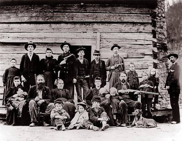 Backwoods Wall Art - Photograph - Hatfield Clan In 1897. Their Feud by Everett