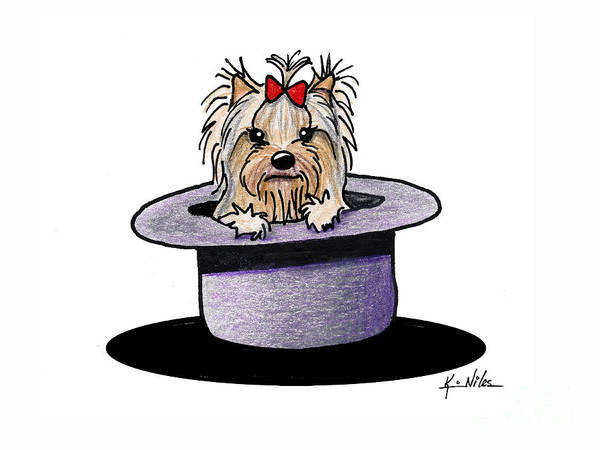 Wall Art - Drawing - Hats Off Yorkie II by Kim Niles
