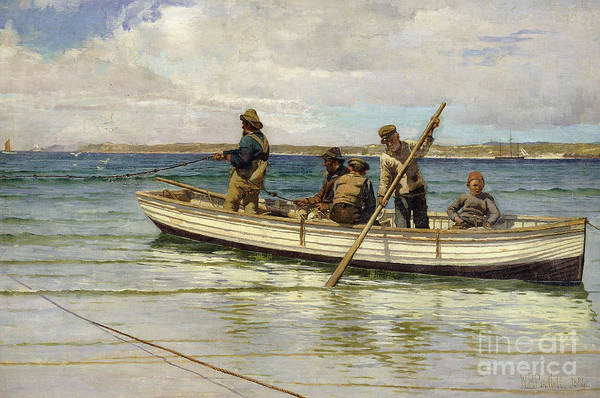 Wall Art - Painting - Hauling In The Catch by William Henry Bartlett