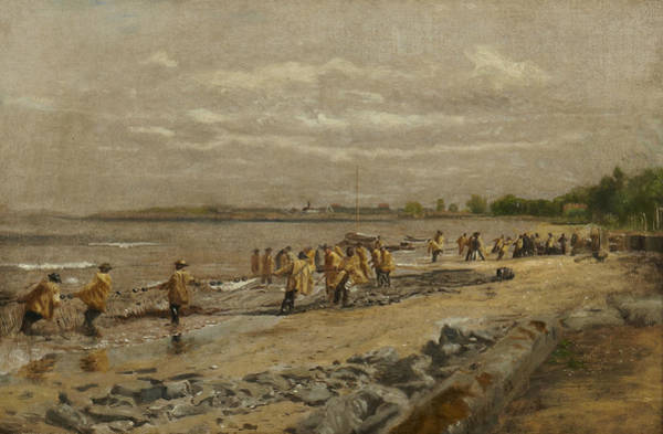 Painting - Hauling The Seine by Thomas Eakins