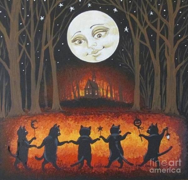 Fat Cat Painting - Haunted Dance by Margaryta Yermolayeva