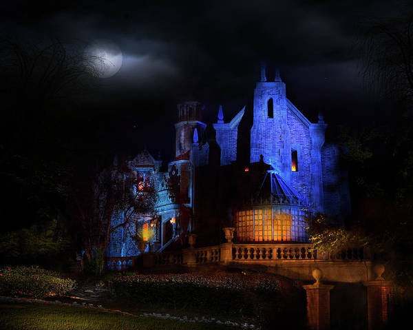 After Dark Photograph - Haunted Mansion At Walt Disney World by Mark Andrew Thomas