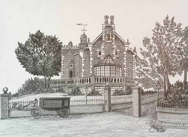 Haunted House Drawing - Haunted Mansion  by Tony Clark