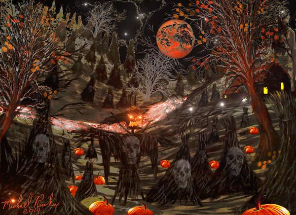 Digital Art - Haunted Pumpkin Patch by Michael Rucker