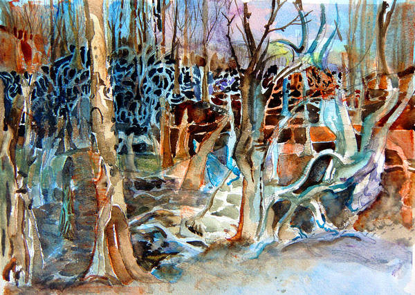 Ohio River Drawing - Haunted Swampland by Mindy Newman