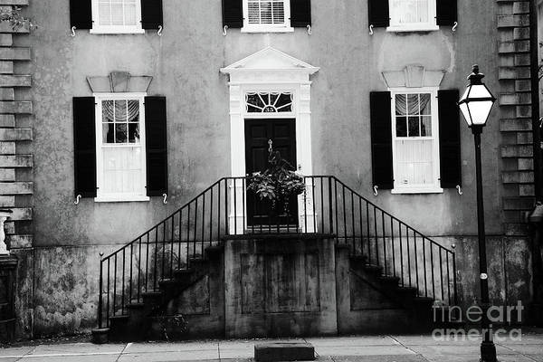 French Quarter Photograph - Haunting Surreal Black And White Charleston South Carolina French Quarter Architecture Windows Door by Kathy Fornal