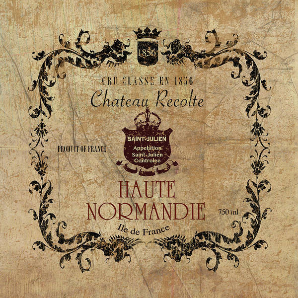 Champagne Mixed Media - Haute Normandie Wine Label by Marilu Windvand