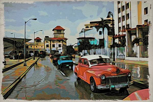 Photograph - Havana Red In Traffic by Alice Gipson
