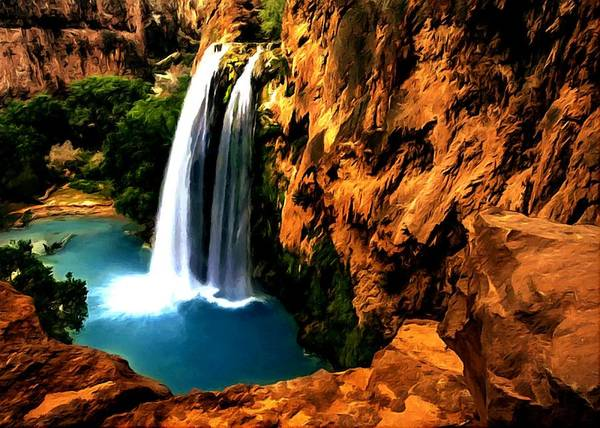 Painting - Havasu Waterfall by Dr Bob Johnston