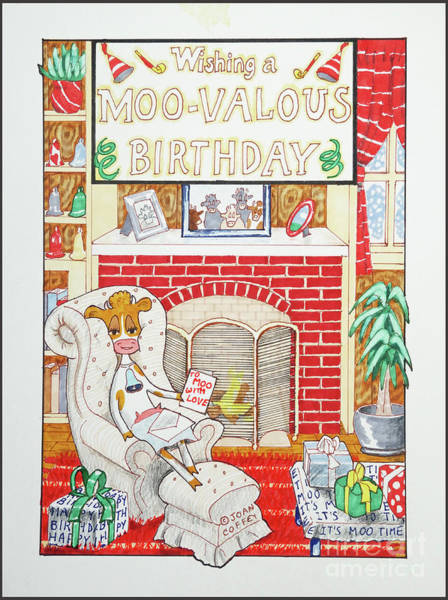 Drawing - Have A Moovalous Birthday by Joan Coffey