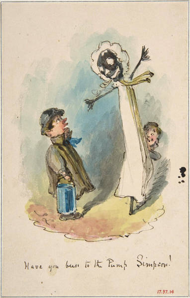 Pump Drawing - Have You Been To The Pump, Simpson? by John Leech