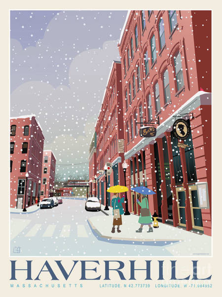 Wall Art - Painting - Haverhill Cultural District_snow by Leslie Alfred McGrath