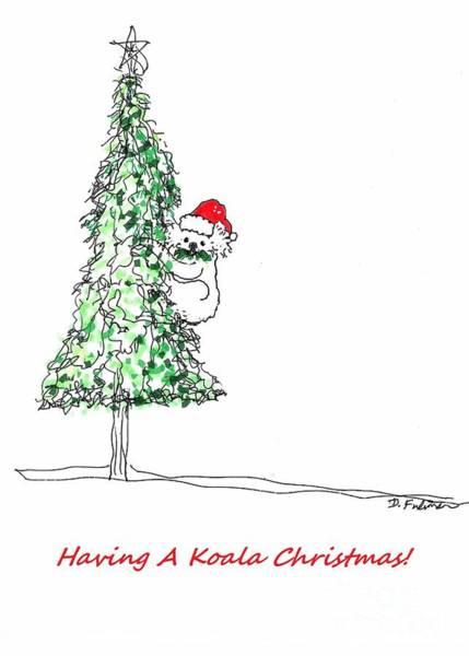 Mixed Media - Having A Koala Christmas by Denise F Fulmer