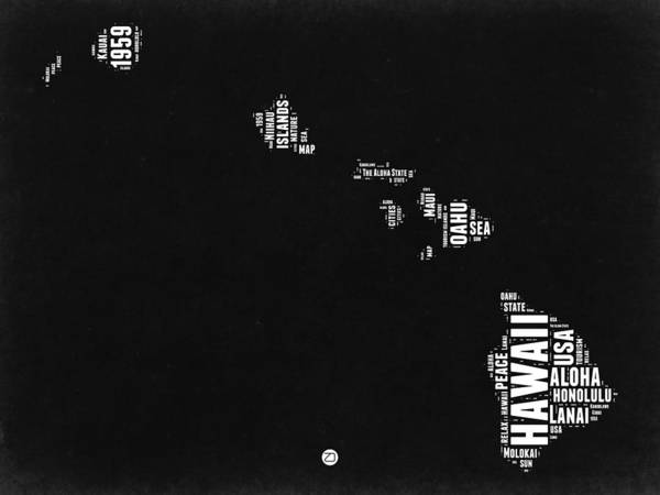 Hawaii Black And White Map Art Print