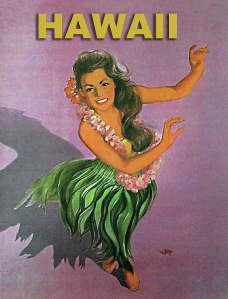 Hula Wall Art - Painting - Hawaii, Dancing Hula Woman by Long Shot