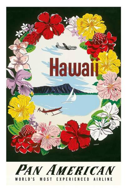 Hawaii Digital Art - Hawaii Flower Lei And Diamond Head Crater Vintage Hawaiian Travel Poster By A. Amspoker  by Retro Graphics