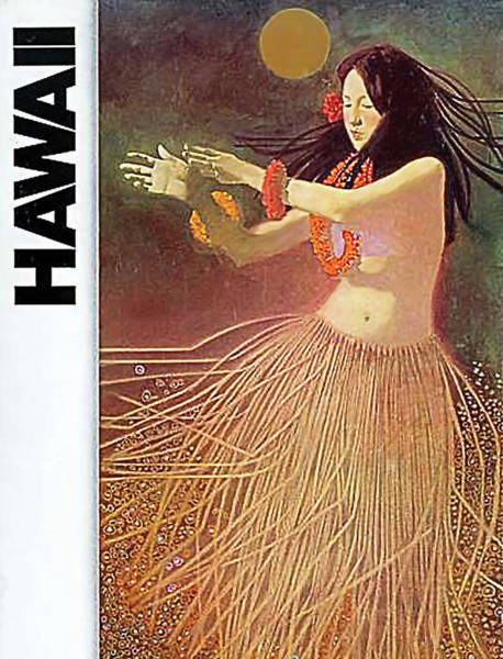 Hula Wall Art - Painting - Hawaii, Hula Girl Dancing At Full Moon by Long Shot