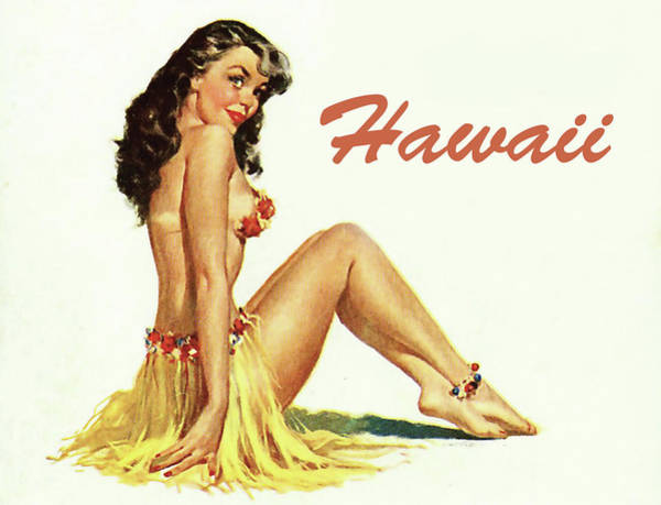 Wall Art - Painting - Hawaii, Hula Girl In Traditional Dress by Long Shot