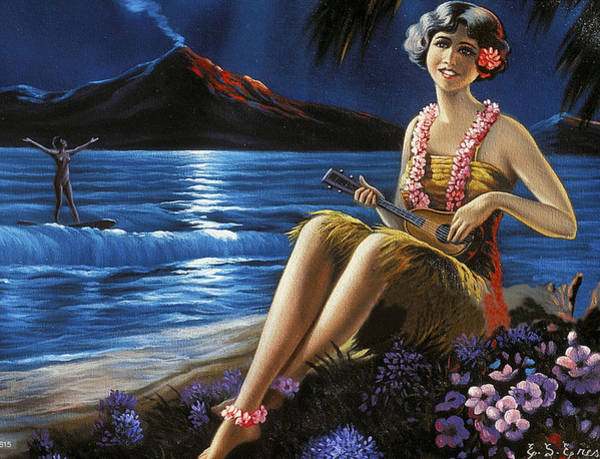 Hula Wall Art - Painting - Hawaii, Hula Girl Plays Ukulele At Tropical Beach Night by Long Shot