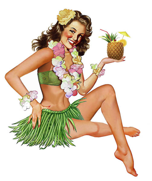 Hula Wall Art - Painting - Hawaii, Hula Girl Posing With Exotic Pineapple Cocktail by Long Shot