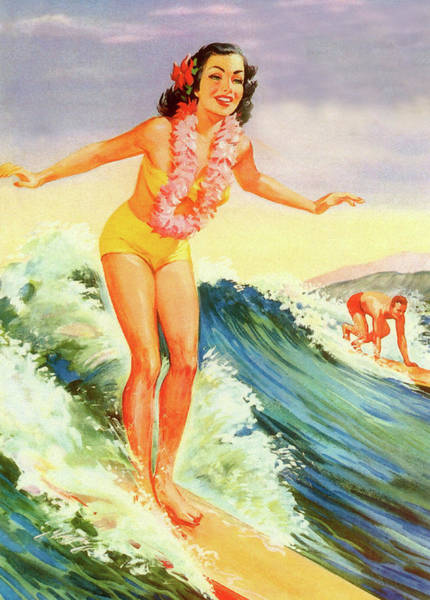 Wall Art - Painting - Hawaii, Hula Girl Surf by Long Shot