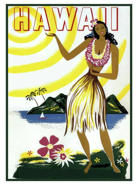Hula Wall Art - Painting - Hawaii, Hula Girl, Tropic Beach, Travel Poster by Long Shot
