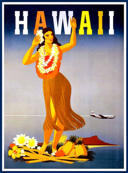 Hula Wall Art - Painting - Hawaii, Hula Girl Welcome by Long Shot