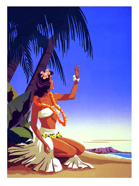 Hula Wall Art - Painting - Hawaii, Hula Girl Welcome, Tropic Beach by Long Shot
