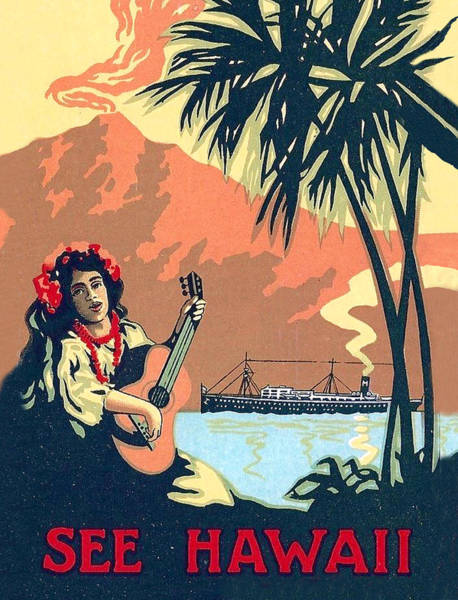 Hula Wall Art - Painting - Hawaii, Hula Girl Welcomes Tourist Ship With Traditional Music by Long Shot