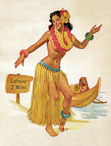 Hula Wall Art - Painting - Hawaii, Hula Girl Welcomes You With Her Dog by Long Shot