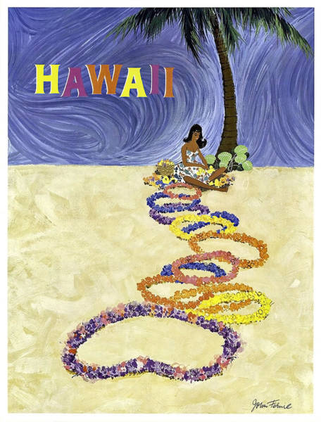 Hula Wall Art - Painting - Hawaii, Hula Girl With Exotic Flower Wreaths Under The Palm Tree by Long Shot