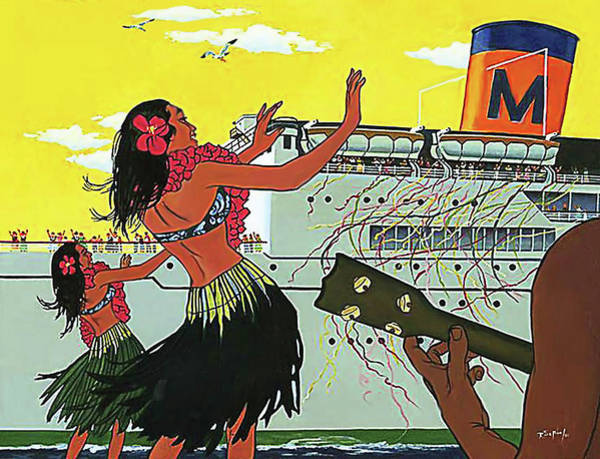 Hula Wall Art - Painting - Hawaii, Hula Girls Welcomes Tourist Ship With Traditional Dance And Music by Long Shot