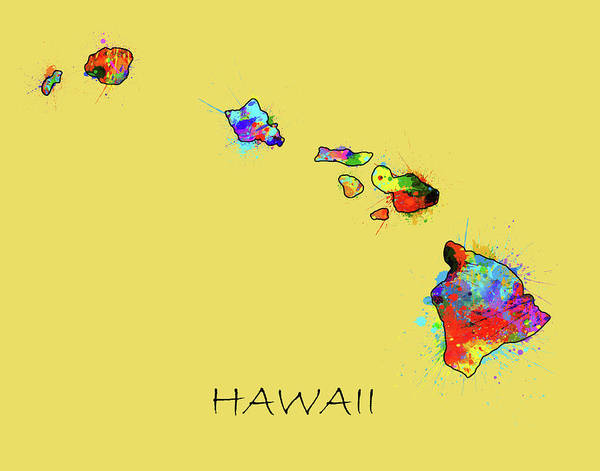 Hawaii Map Color Splatter 3 Art Print
