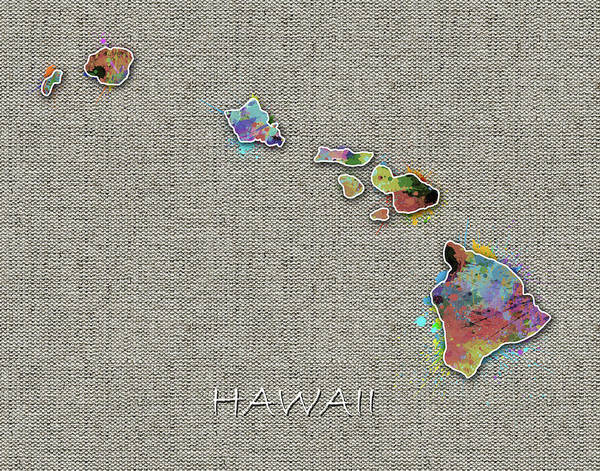 Hawaii Map Color Splatter 4 Art Print