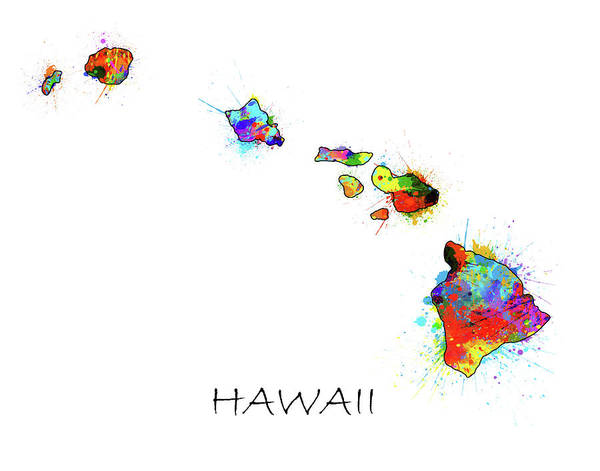 Hawaii Map Color Splatter  Art Print