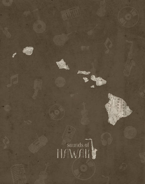 Hawaii Map Music Notes 3 Art Print